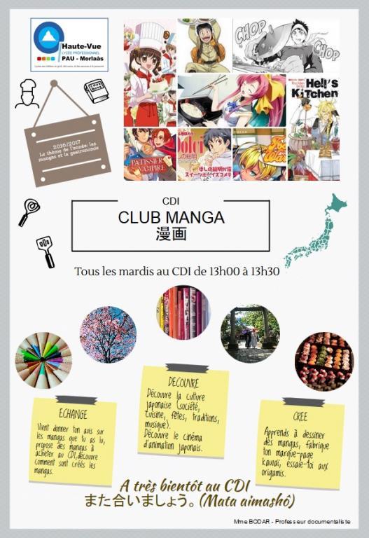 A partir du 18 octobre 2016, venez au CDI tous les mardis à 13h00 découvrir le club manga.
